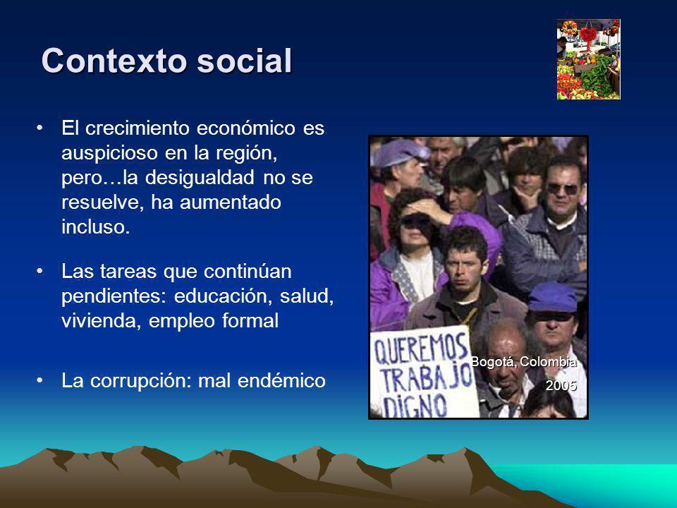 Contexto social Las tareas que continúan pendientes: educación, salud, vivienda, empleo formal La corrupción: mal endémico Bogotá, Colombia 2005 El cr