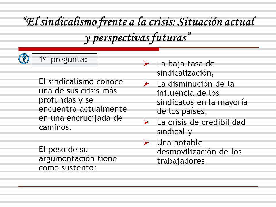 El sindicalismo frente a la crisis: Situación actual y perspectivas futuras 1 er pregunta: El sindicalismo conoce una de sus crisis más profundas y se