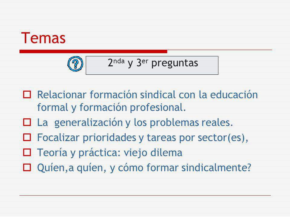 Temas 2 nda y 3 er preguntas Relacionar formación sindical con la educación formal y formación profesional. La generalización y los problemas reales.