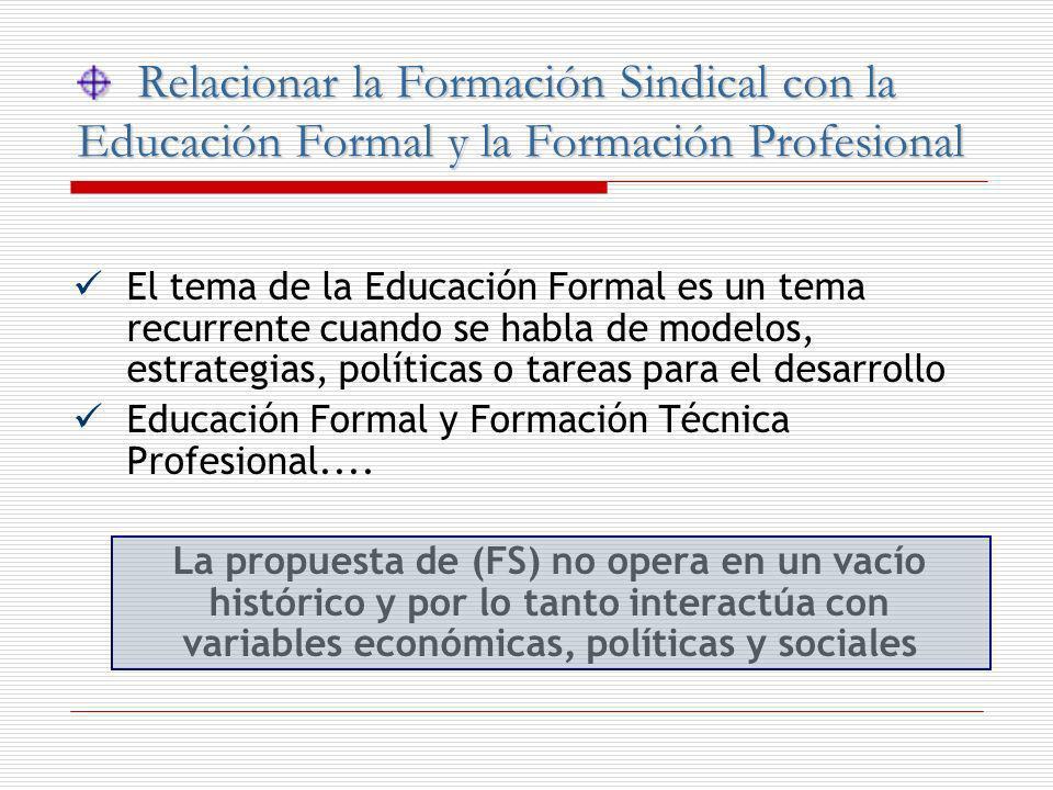 Relacionar la Formación Sindical con la Educación Formal y la Formación Profesional Relacionar la Formación Sindical con la Educación Formal y la Form