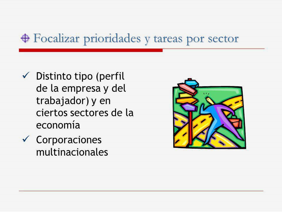 Focalizar prioridades y tareas por sector Focalizar prioridades y tareas por sector Distinto tipo (perfil de la empresa y del trabajador) y en ciertos