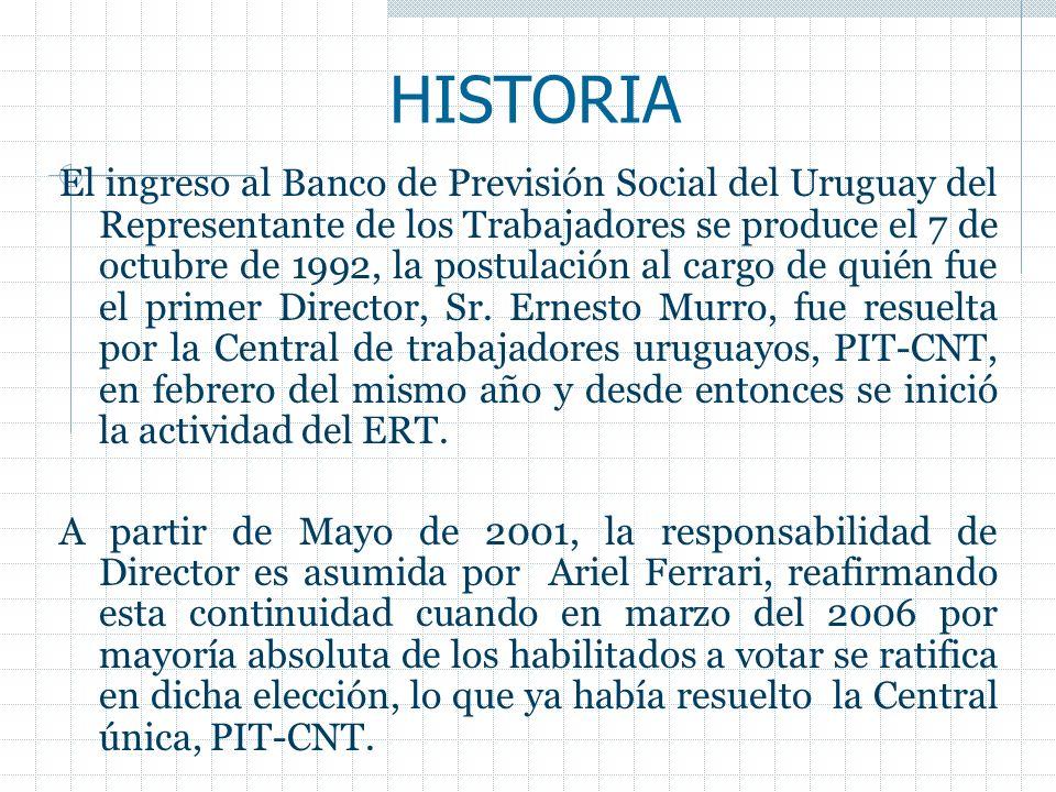 HISTORIA El ingreso al Banco de Previsión Social del Uruguay del Representante de los Trabajadores se produce el 7 de octubre de 1992, la postulación al cargo de quién fue el primer Director, Sr.
