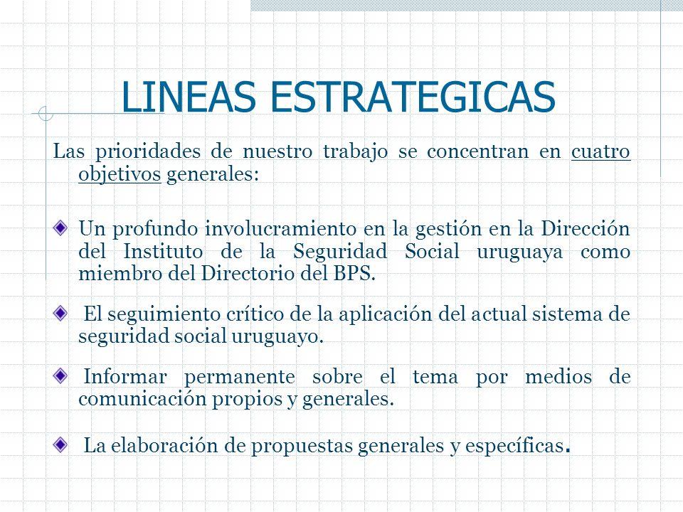 LINEAS ESTRATEGICAS Las prioridades de nuestro trabajo se concentran en cuatro objetivos generales: Un profundo involucramiento en la gestión en la Di