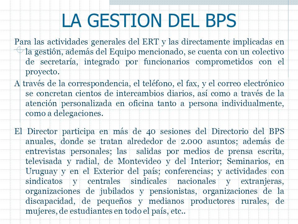LA GESTION DEL BPS Para las actividades generales del ERT y las directamente implicadas en la gestión, además del Equipo mencionado, se cuenta con un