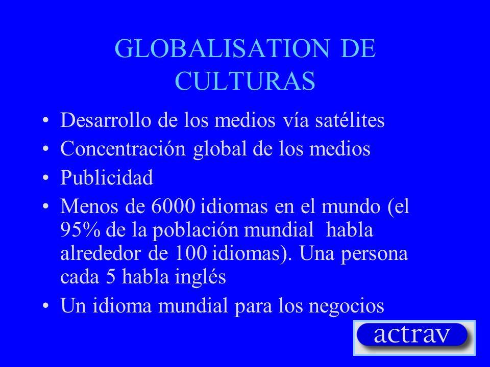 GLOBALISATION DE CULTURAS Desarrollo de los medios vía satélites Concentración global de los medios Publicidad Menos de 6000 idiomas en el mundo (el 9