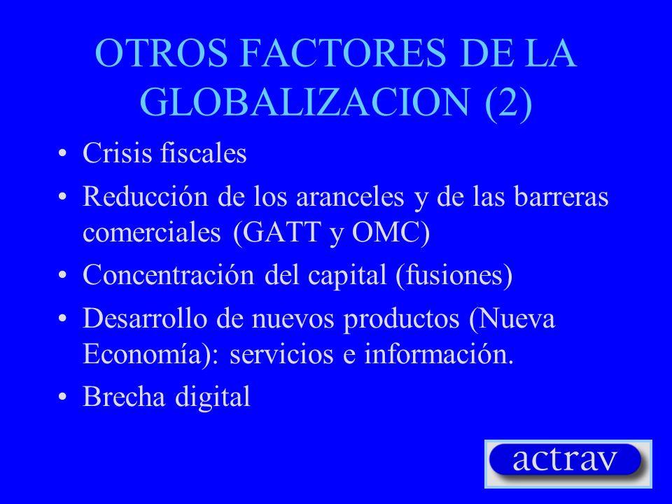 OTROS FACTORES DE LA GLOBALIZACION (2) Crisis fiscales Reducción de los aranceles y de las barreras comerciales (GATT y OMC) Concentración del capital
