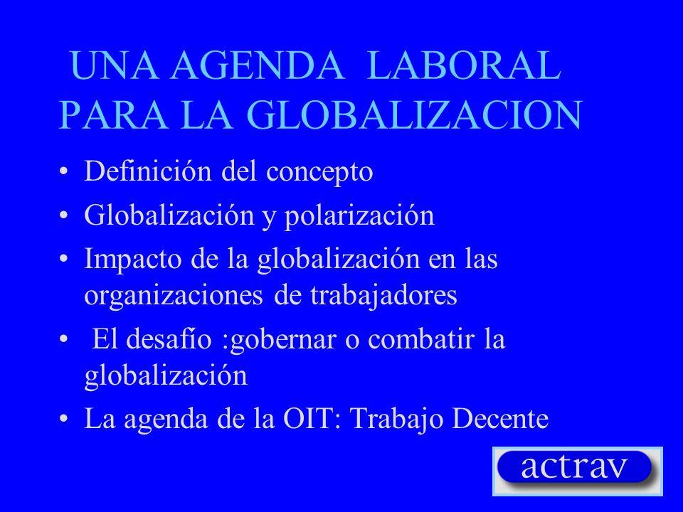 UNA AGENDA LABORAL PARA LA GLOBALIZACION Definición del concepto Globalización y polarización Impacto de la globalización en las organizaciones de tra