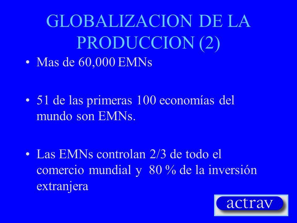 GLOBALIZACION DE LA PRODUCCION (2) Mas de 60,000 EMNs 51 de las primeras 100 economías del mundo son EMNs. Las EMNs controlan 2/3 de todo el comercio