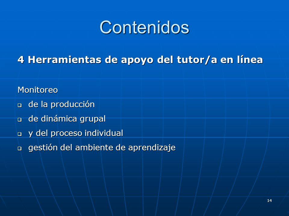 14 Contenidos 4 Herramientas de apoyo del tutor/a en línea Monitoreo de la producción de la producción de dinámica grupal de dinámica grupal y del pro
