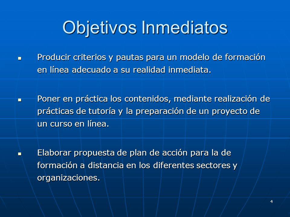 4 Objetivos Inmediatos Producir criterios y pautas para un modelo de formación en línea adecuado a su realidad inmediata. Producir criterios y pautas