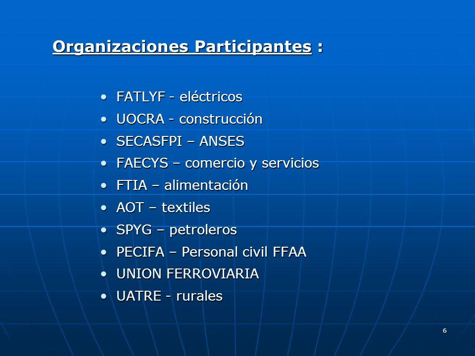 6 Organizaciones Participantes : FATLYF - eléctricos FATLYF - eléctricos UOCRA - construcción UOCRA - construcción SECASFPI – ANSES SECASFPI – ANSES F