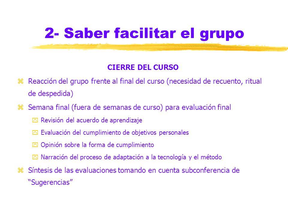 2- Saber facilitar el grupo EQUILIBRIO DE OPORTUNIDADES zCaracterísticas de los liderazgos según tipos de actividades de aprendizaje zRiesgo del aisla