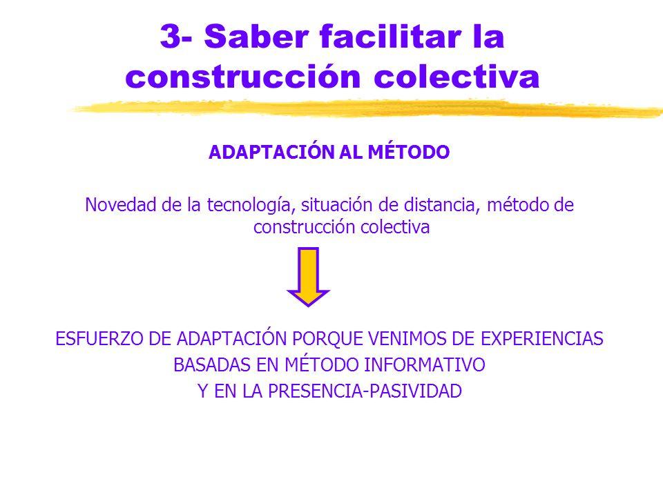 3- Saber facilitar la construcción colectiva INTRODUCIR LA DISCUSIÓN zMENSAJE INICIAL: claridad de lo que hay que hacer y del objetivo zINTERACCIÓN: d