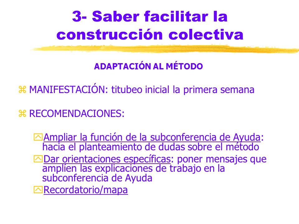 3- Saber facilitar la construcción colectiva ADAPTACIÓN AL MÉTODO Novedad de la tecnología, situación de distancia, método de construcción colectiva E