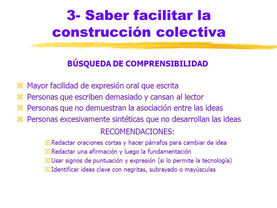 3- Saber facilitar la construcción colectiva ADAPTACIÓN AL MÉTODO zMANIFESTACIÓN: titubeo inicial la primera semana zRECOMENDACIONES: yAmpliar la func