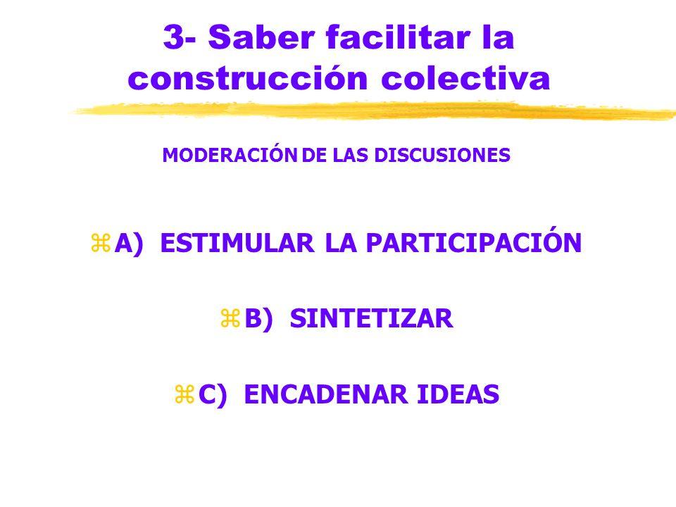 3- Saber facilitar la construcción colectiva BÚSQUEDA DE COMPRENSIBILIDAD zMayor facilidad de expresión oral que escrita zPersonas que escriben demasi