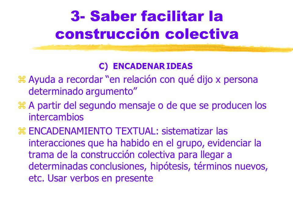 3- Saber facilitar la construcción colectiva B) SINTETIZAR zSINTETIZAR AL INICIO: los primeros días de la semana, cuando la cuarta parte de los partic