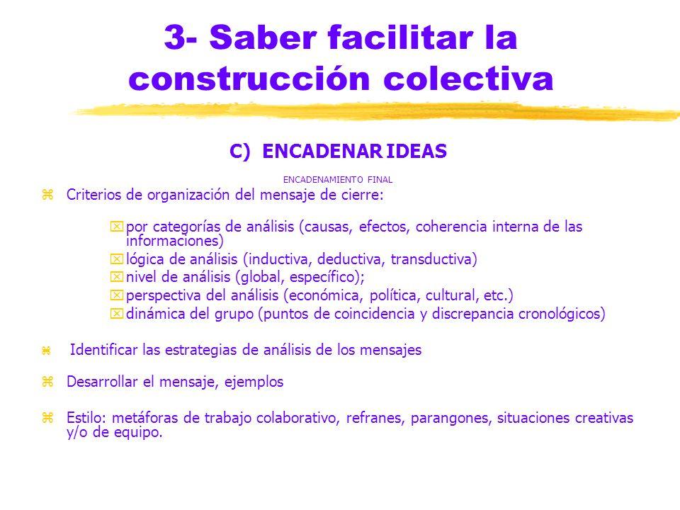3- Saber facilitar la construcción colectiva C) ENCADENAR IDEAS zENCADENAMIENTO IMPLÍCITO yLa interacción no siempre se produce (inadaptación al métod