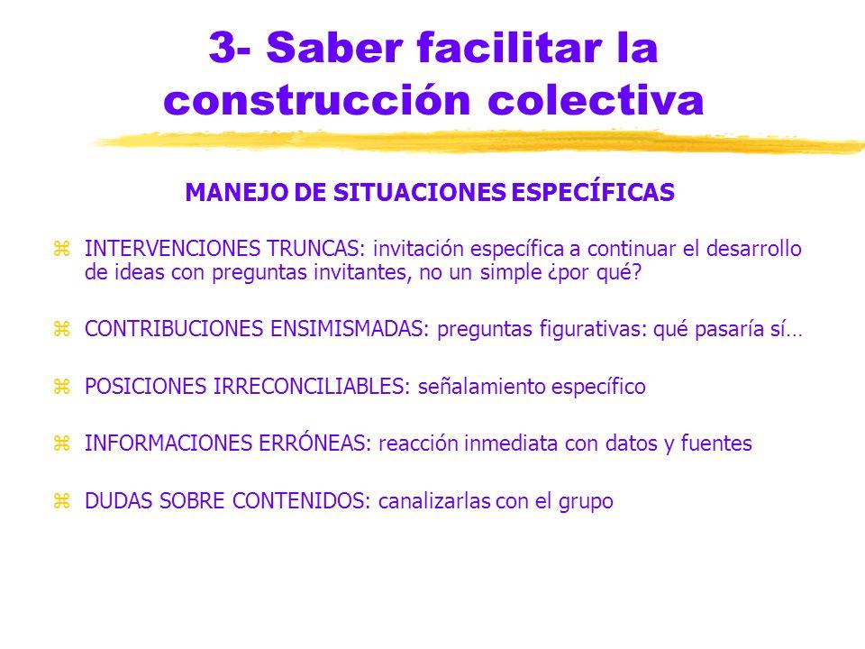 3- Saber facilitar la construcción colectiva MANEJO DE SITUACIONES ESPECÍFICAS zDISCUSIÓN AGOTADA: nuevas interrogantes zPOCA SUSTANCIA: series de pre