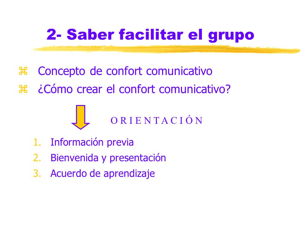 2- Saber facilitar el grupo zConcepto de confort comunicativo z¿Cómo crear el confort comunicativo.