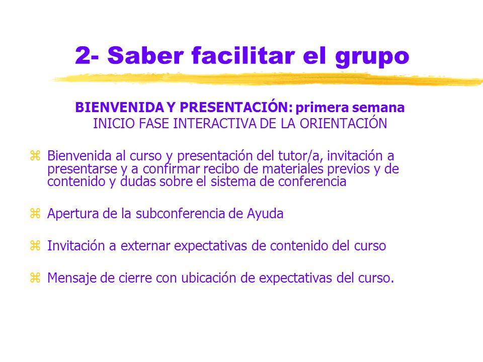 2- Saber facilitar el grupo INFORMACIÓN PREVIA: un mes antes zEL PROGRAMA: perfil del participante, objetivos, contenidos, duración, calendarios, tipo