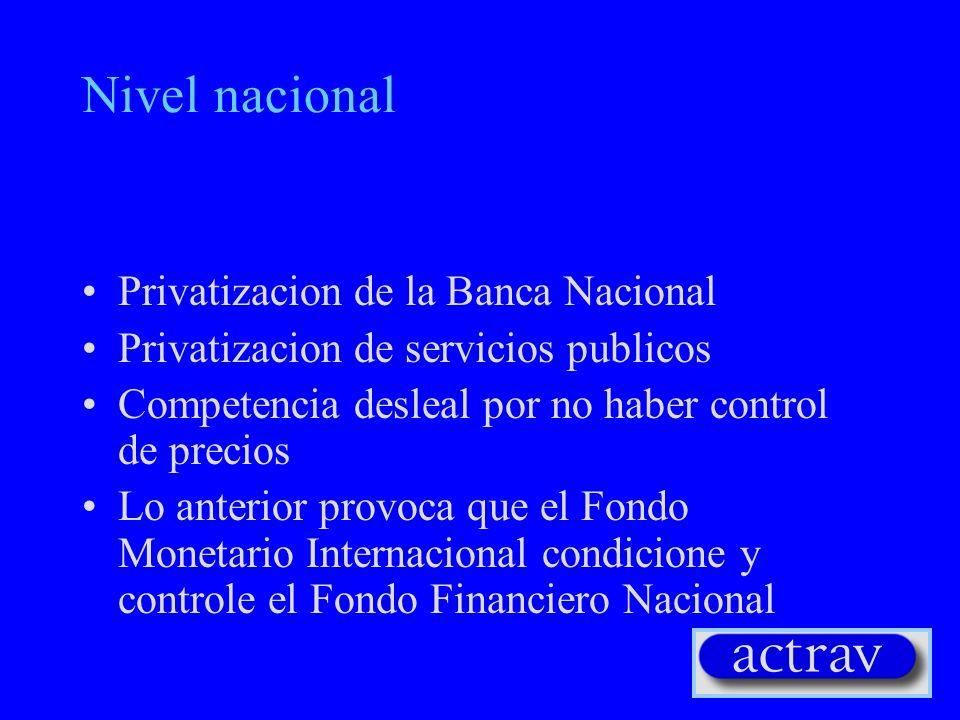Nivel nacional Privatizacion de la Banca Nacional Privatizacion de servicios publicos Competencia desleal por no haber control de precios Lo anterior provoca que el Fondo Monetario Internacional condicione y controle el Fondo Financiero Nacional