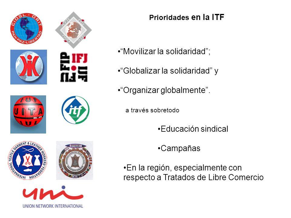 Prioridades en la ITF Movilizar la solidaridad; Globalizar la solidaridad y Organizar globalmente.