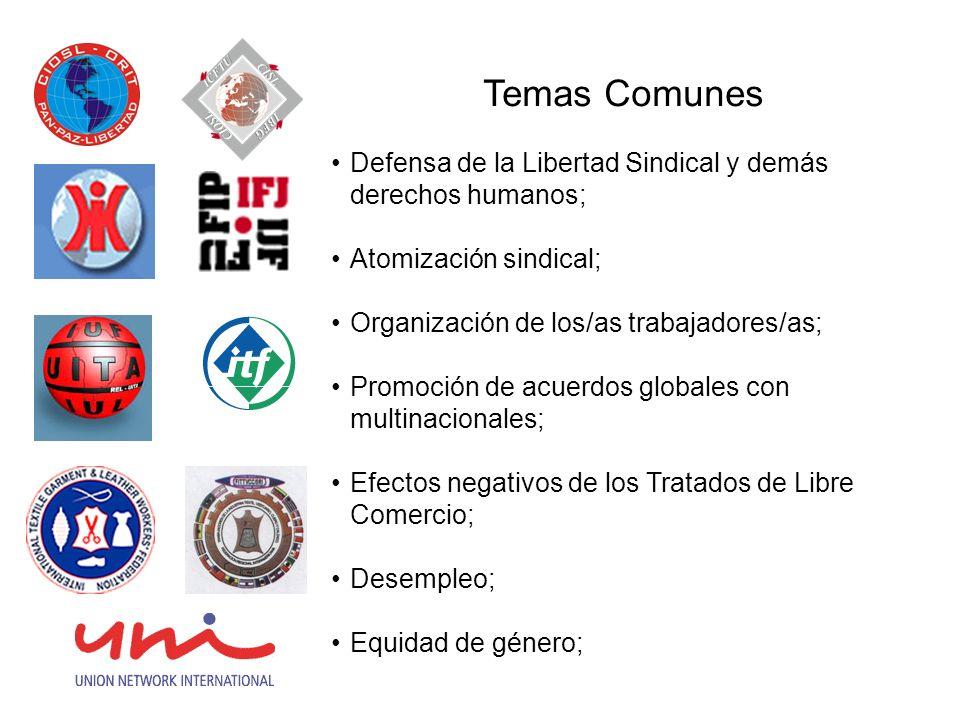 Temas Comunes Defensa de la Libertad Sindical y demás derechos humanos; Atomización sindical; Organización de los/as trabajadores/as; Promoción de acuerdos globales con multinacionales; Efectos negativos de los Tratados de Libre Comercio; Desempleo; Equidad de género;