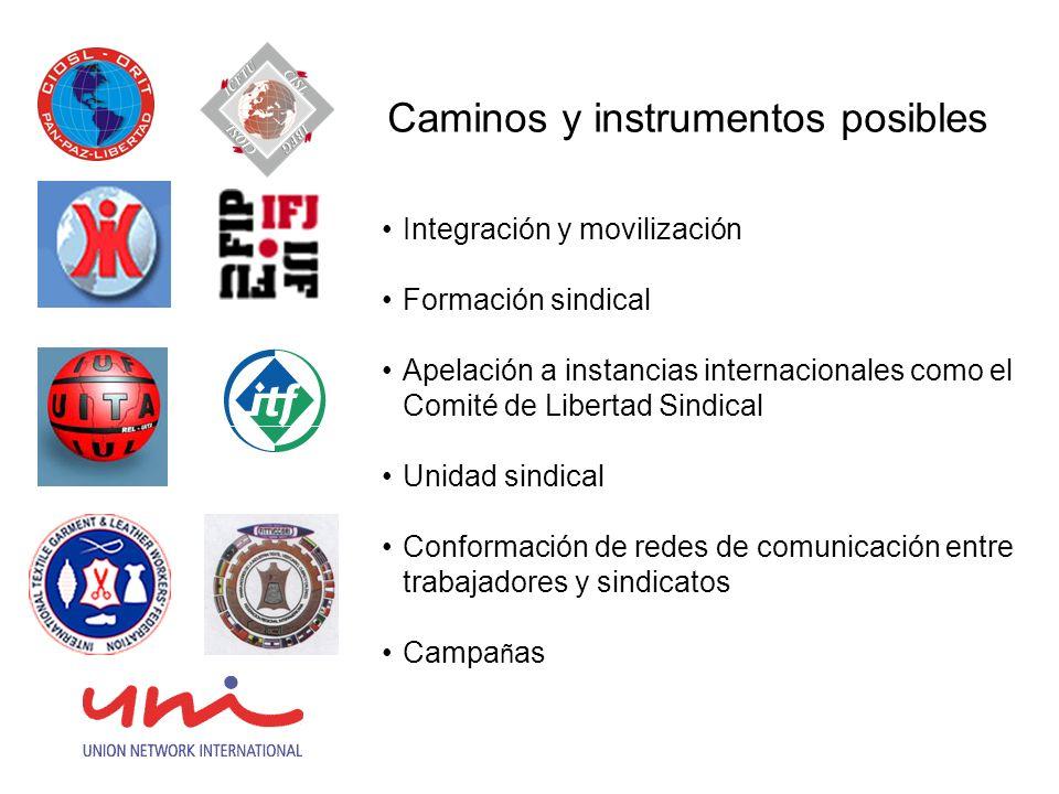 Caminos y instrumentos posibles Integración y movilización Formación sindical Apelación a instancias internacionales como el Comité de Libertad Sindical Unidad sindical Conformación de redes de comunicación entre trabajadores y sindicatos Campa ñ as