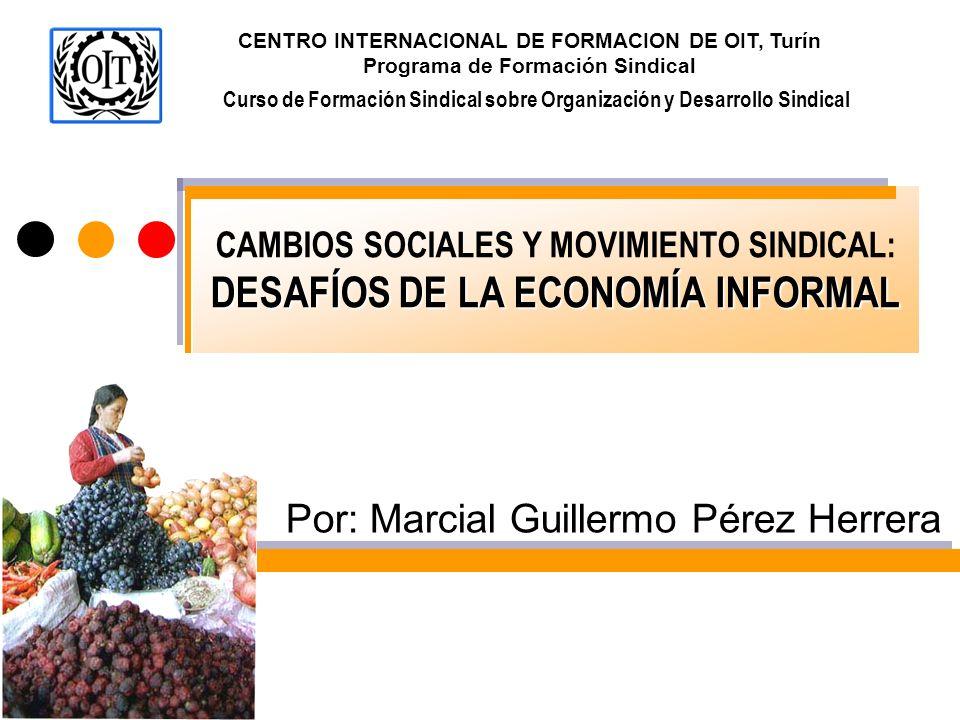 DESAFÍOS DE LA ECONOMÍA INFORMAL CAMBIOS SOCIALES Y MOVIMIENTO SINDICAL: DESAFÍOS DE LA ECONOMÍA INFORMAL Por: Marcial Guillermo Pérez Herrera Curso d