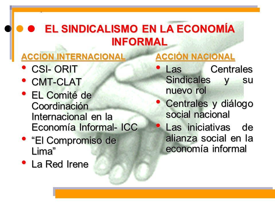 EL SINDICALISMO EN LA ECONOMÍA INFORMAL ACCION INTERNACIONAL CSI- ORIT CSI- ORIT CMT-CLAT CMT-CLAT EL Comité de Coordinación Internacional en la Econo