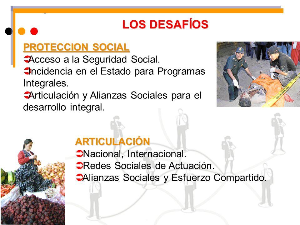 LOS DESAFÍOS ARTICULACIÓN Nacional, Internacional. Redes Sociales de Actuación. Alianzas Sociales y Esfuerzo Compartido. PROTECCION SOCIAL Acceso a la