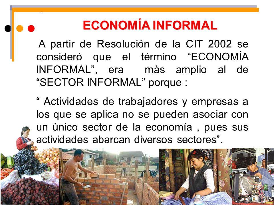 ECONOMÍA INFORMAL A partir de Resolución de la CIT 2002 se consideró que el término ECONOMÍA INFORMAL, era màs amplio al de SECTOR INFORMAL porque : A