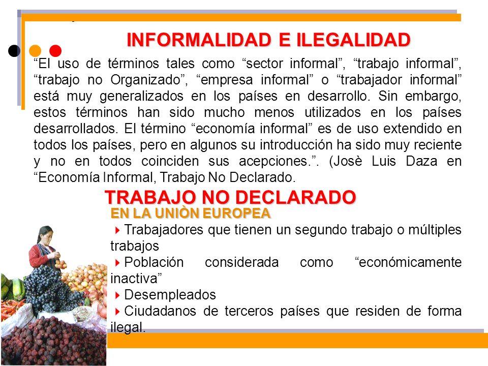 INFORMALIDAD E ILEGALIDAD El uso de términos tales como sector informal, trabajo informal, trabajo no Organizado, empresa informal o trabajador inform