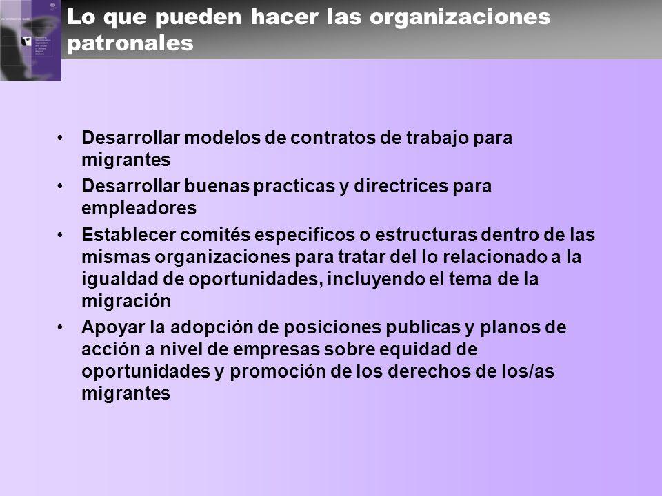 Lo que pueden hacer las organizaciones patronales Desarrollar modelos de contratos de trabajo para migrantes Desarrollar buenas practicas y directrice