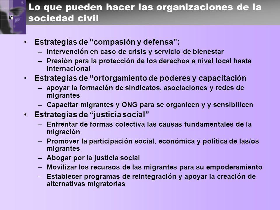 Lo que pueden hacer las organizaciones de la sociedad civil Estrategías de compasión y defensa: –Intervención en caso de crisis y servicio de bienesta