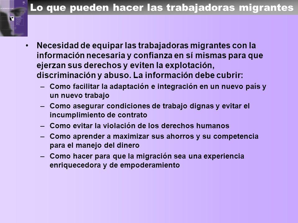 Lo que pueden hacer las trabajadoras migrantes Necesidad de equipar las trabajadoras migrantes con la información necesaria y confianza en sí mismas p