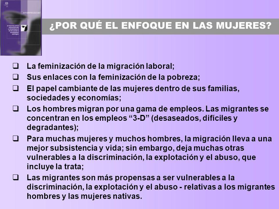 UNA PERSPECTIVA DE GÉNERO BASADA EN LOS DERECHOS Enfoque en las mujeres, pero no exclusivo a las mujeres; Perspectiva de género reconoce las similitudes y diferencias en las experiencias migratorias de las mujeres y los hombres; La discriminación con base en el género interactúa con otras formas de discriminación; Las políticas migratorias y de los mercados de trabajo frecuentemente son insensibles al género y no toman el género en cuenta ni en su intención ni en su impacto; La igualdad de género y la no discriminación son derechos humanos y son cruciales para enfrentar la vulnerabilidad de los trabajadores migrantes; El empoderamiento y no solo la protección de las/los migrantes para que puedan demandar sus derechos en forma igualitaria.