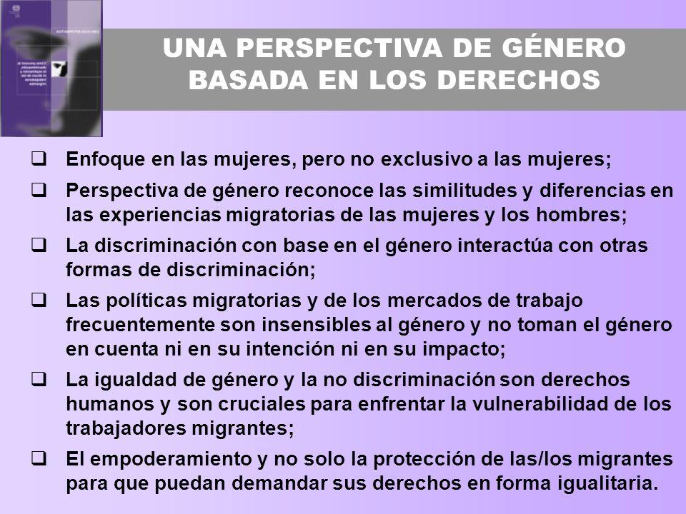 UNA PERSPECTIVA DE GÉNERO BASADA EN LOS DERECHOS Enfoque en las mujeres, pero no exclusivo a las mujeres; Perspectiva de género reconoce las similitud