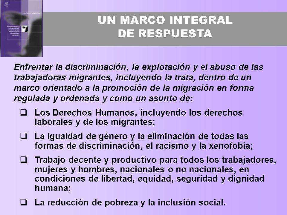 UN MARCO INTEGRAL DE RESPUESTA Enfrentar la discriminación, la explotación y el abuso de las trabajadoras migrantes, incluyendo la trata, dentro de un