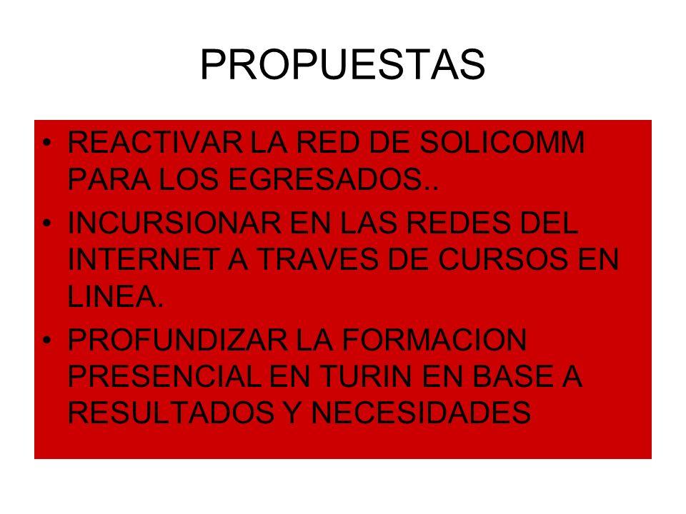 PROPUESTAS REACTIVAR LA RED DE SOLICOMM PARA LOS EGRESADOS.. INCURSIONAR EN LAS REDES DEL INTERNET A TRAVES DE CURSOS EN LINEA. PROFUNDIZAR LA FORMACI