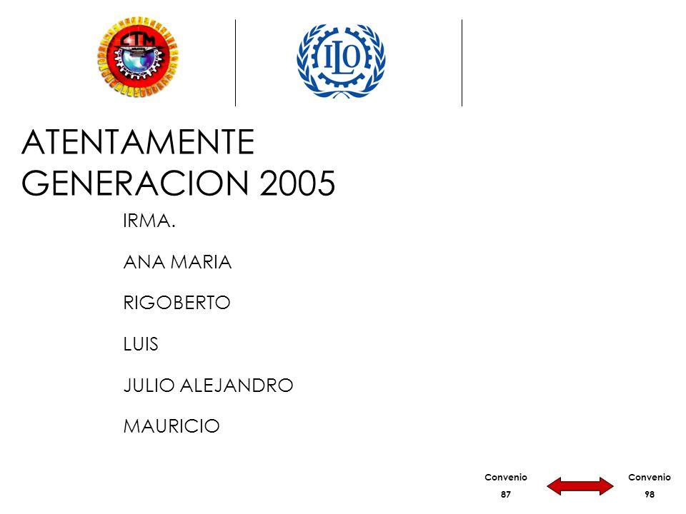 Convenio 87 Convenio 98 ATENTAMENTE GENERACION 2005 IRMA. ANA MARIA RIGOBERTO LUIS JULIO ALEJANDRO MAURICIO