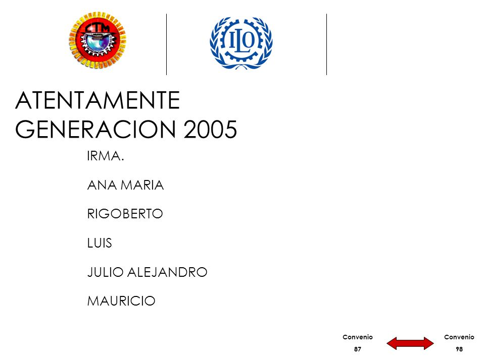Convenio 87 Convenio 98 ATENTAMENTE GENERACION 2005 IRMA.