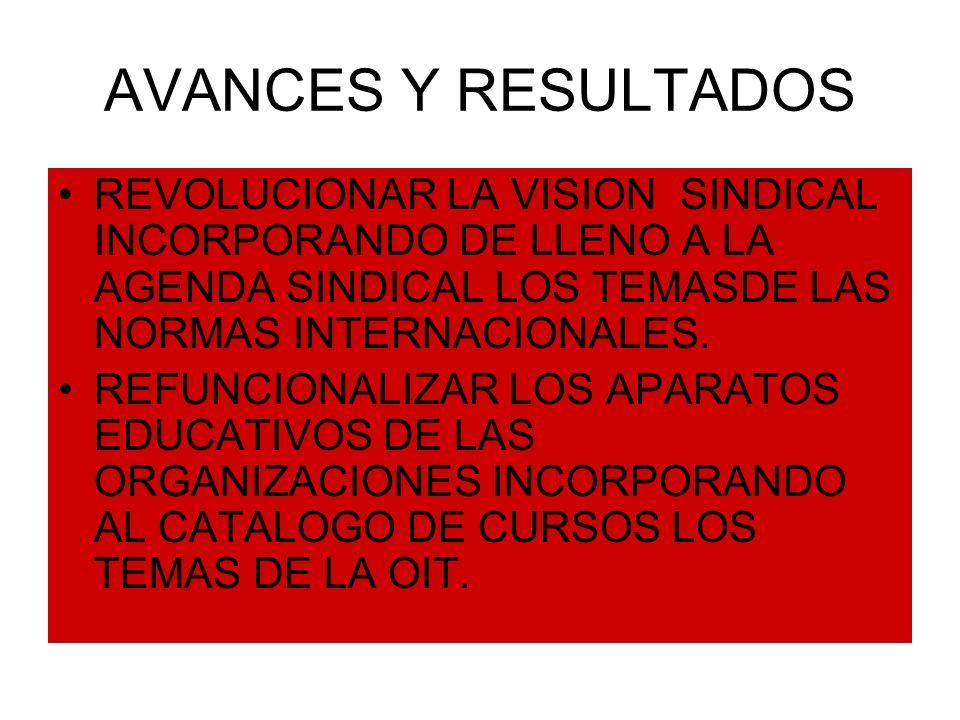 AVANCES Y RESULTADOS REVOLUCIONAR LA VISION SINDICAL INCORPORANDO DE LLENO A LA AGENDA SINDICAL LOS TEMASDE LAS NORMAS INTERNACIONALES. REFUNCIONALIZA
