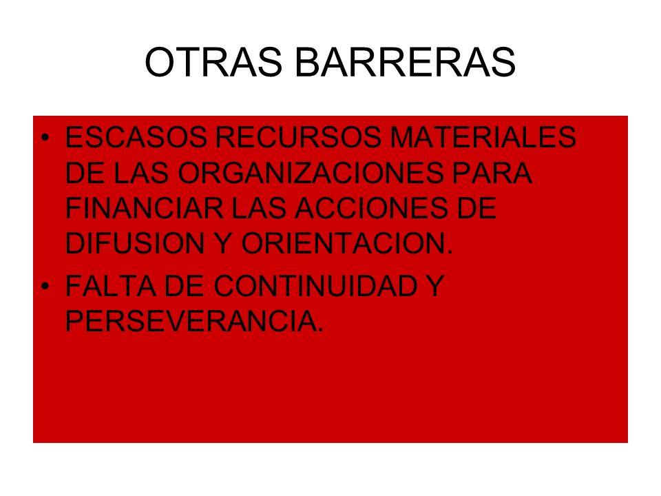 OTRAS BARRERAS ESCASOS RECURSOS MATERIALES DE LAS ORGANIZACIONES PARA FINANCIAR LAS ACCIONES DE DIFUSION Y ORIENTACION. FALTA DE CONTINUIDAD Y PERSEVE