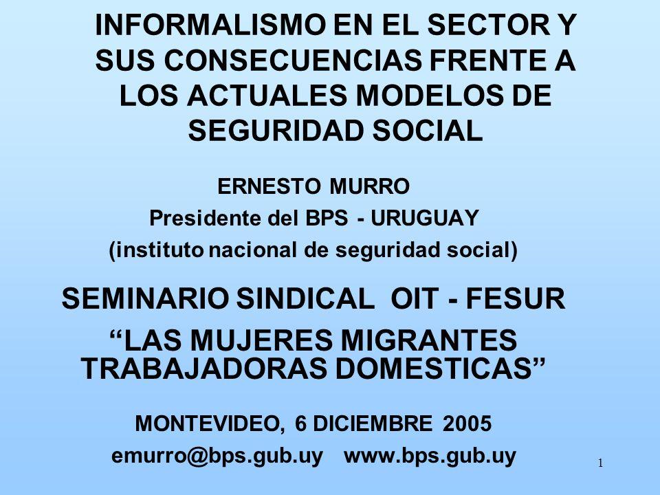 1 INFORMALISMO EN EL SECTOR Y SUS CONSECUENCIAS FRENTE A LOS ACTUALES MODELOS DE SEGURIDAD SOCIAL ERNESTO MURRO Presidente del BPS - URUGUAY (institut
