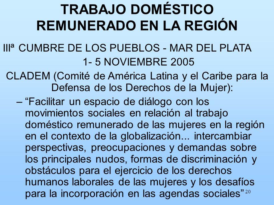20 TRABAJO DOMÉSTICO REMUNERADO EN LA REGIÓN IIIª CUMBRE DE LOS PUEBLOS - MAR DEL PLATA 1- 5 NOVIEMBRE 2005 CLADEM (Comité de América Latina y el Cari