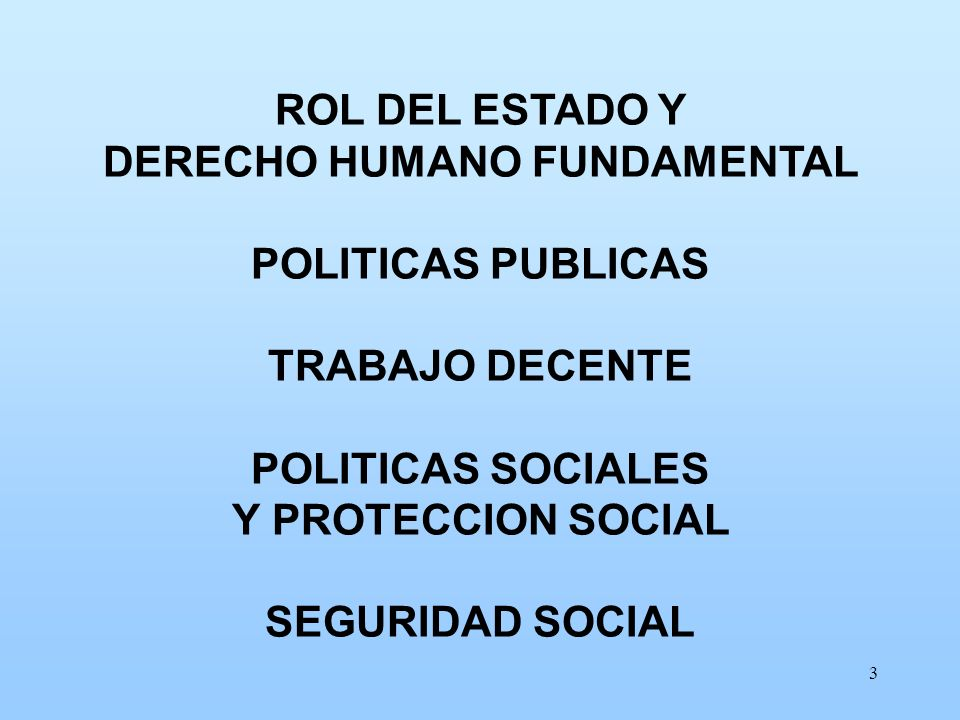 3 ROL DEL ESTADO Y DERECHO HUMANO FUNDAMENTAL POLITICAS PUBLICAS TRABAJO DECENTE POLITICAS SOCIALES Y PROTECCION SOCIAL SEGURIDAD SOCIAL