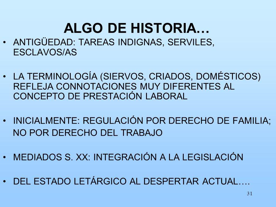 31 ALGO DE HISTORIA… ANTIGÜEDAD: TAREAS INDIGNAS, SERVILES, ESCLAVOS/AS LA TERMINOLOGÍA (SIERVOS, CRIADOS, DOMÉSTICOS) REFLEJA CONNOTACIONES MUY DIFER