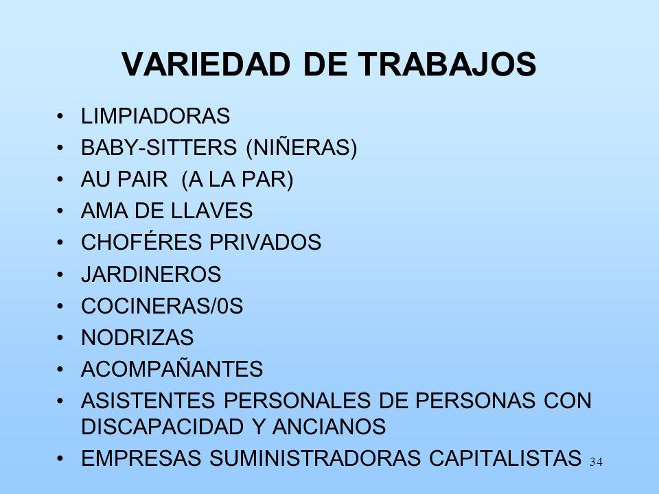 34 VARIEDAD DE TRABAJOS LIMPIADORAS BABY-SITTERS (NIÑERAS) AU PAIR (A LA PAR) AMA DE LLAVES CHOFÉRES PRIVADOS JARDINEROS COCINERAS/0S NODRIZAS ACOMPAÑ